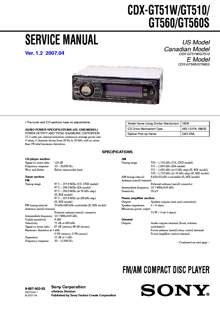 sony_cdx gt51w_gt510_gt560_gt560s_ver 1.2_sm.pdf_1 sony cdx 4180r sm 2 service manual download, schematics, eeprom sony cdx gt510 wiring diagram at panicattacktreatment.co