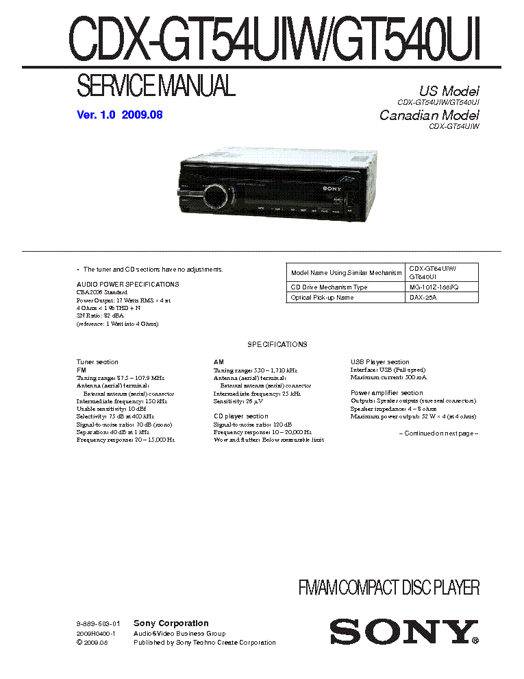 sony_cdx gt54uiw_gt540ui_ver 1.0_sm.pdf_1 sony cdx 4180r sm 2 service manual download, schematics, eeprom sony cdx-gt550ui wiring harness at n-0.co