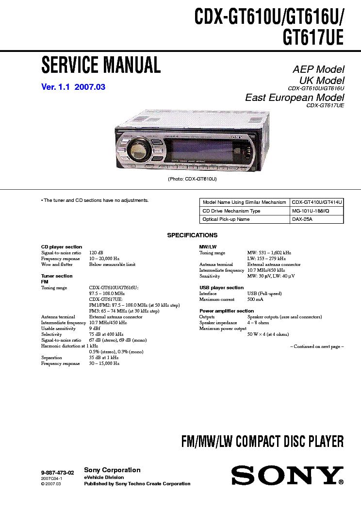 sony cdx gt616u инструкция