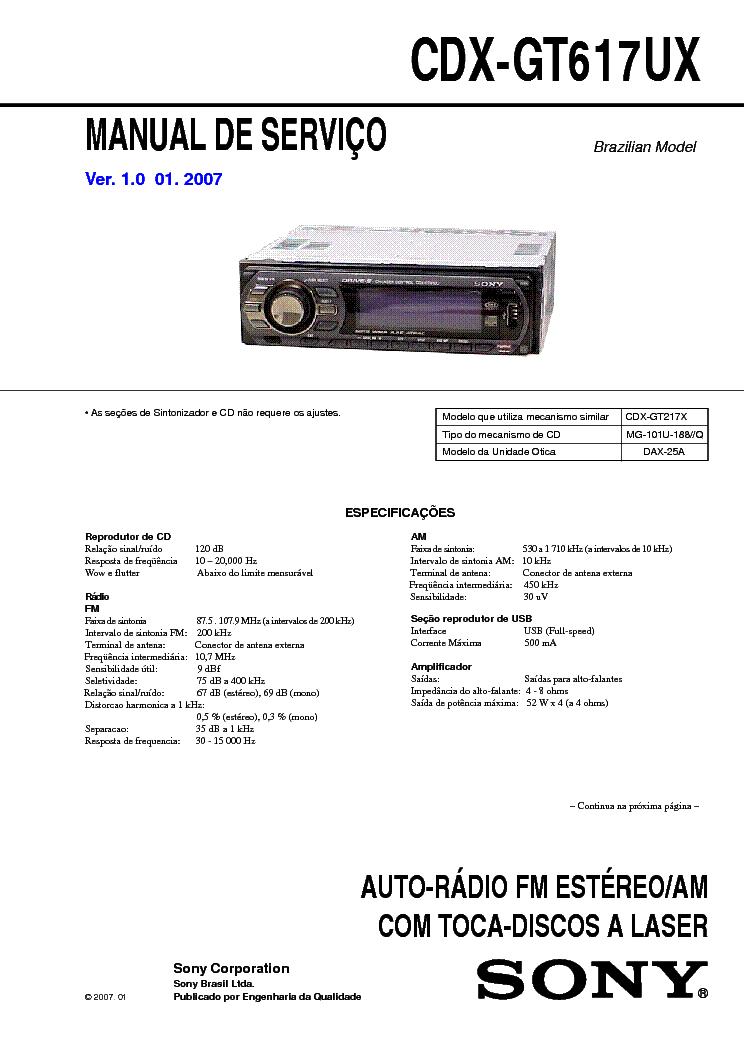 SONY CDX-GT617UX VER-1.0