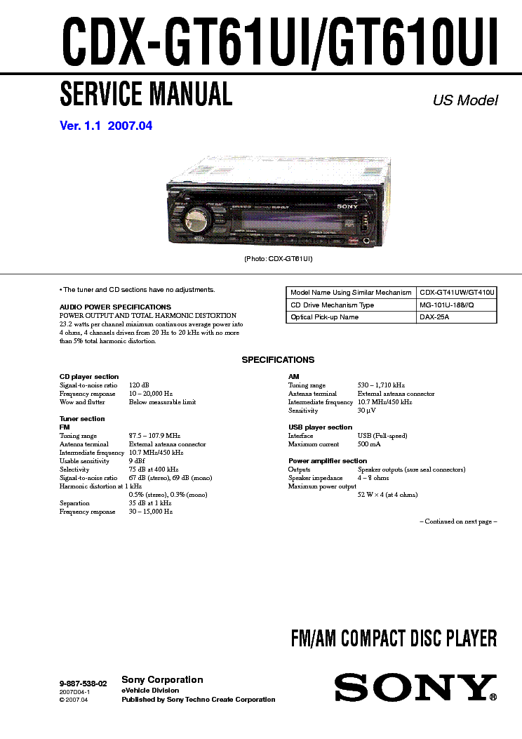 sony_cdx gt61ui_gt610ui_ver 1.1_sm.pdf_1 sony xr c2200 c2300x sm service manual download, schematics sony cdx-gt620u wiring diagram at panicattacktreatment.co