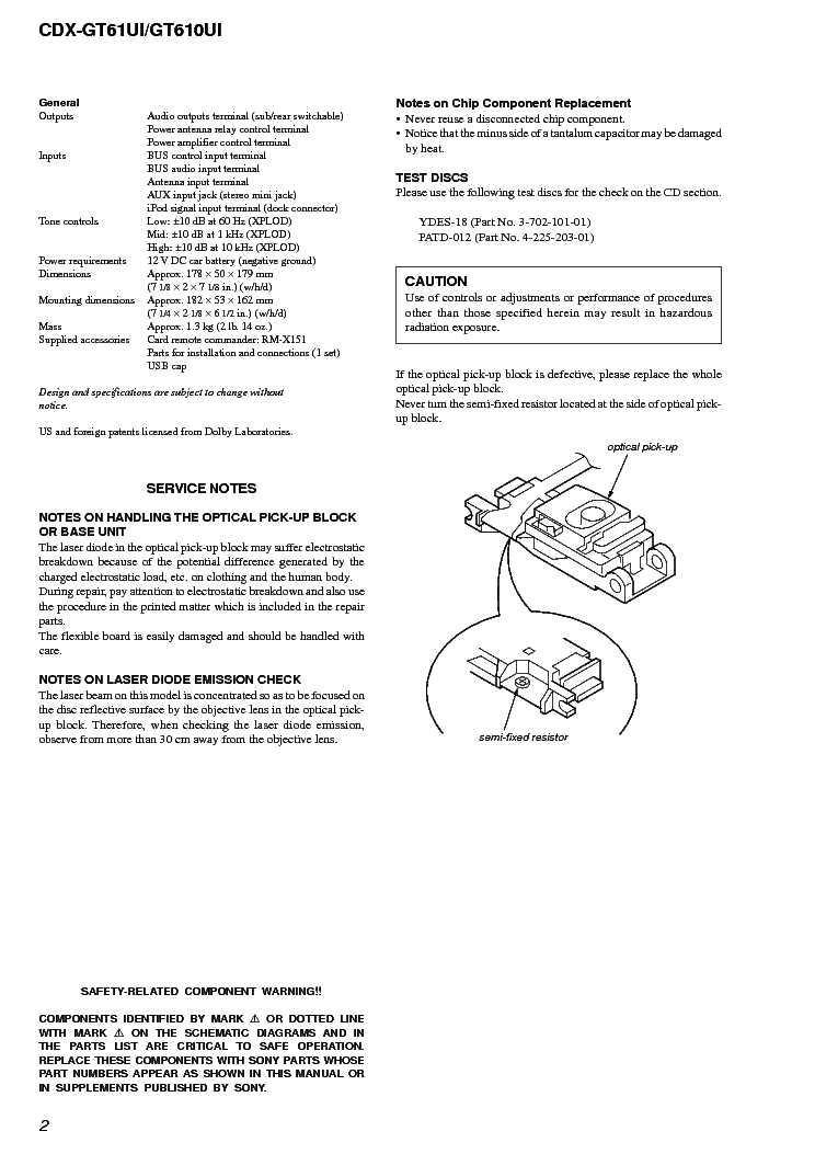 sony cdx-gt61ui gt610ui ver-1 1 sm service manual (2nd page)