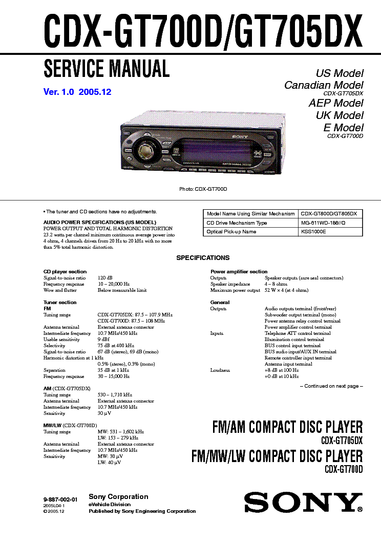 sony_cdx gt700d gt705dx.pdf_1 sony cdx gt700d gt705dx service manual download, schematics sony cdx ca400 wiring diagram at soozxer.org