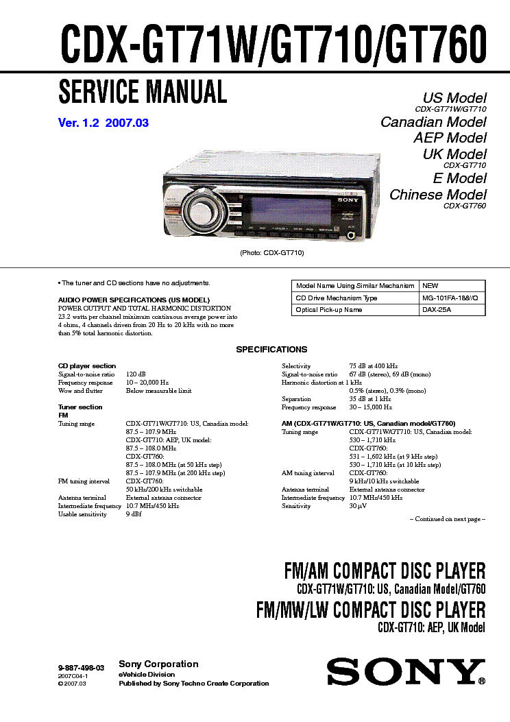 sony cdx gt710 wiring 2 10 manualuniverse co \u2022  sony cdx gt71w gt710 gt760 ver 1 2 sm service manual download rh elektrotanya com sony cdx gt710hd wiring sony cdx gt710 manual