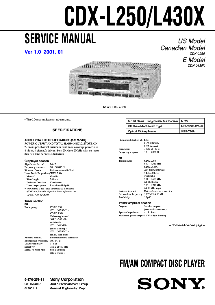 sony cdx l250 cdx l430x ver 1 0 service manual download schematics rh elektrotanya com Sony Xplod Deck Wiring-Diagram Sony Xplod Wiring-Diagram