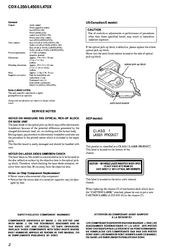 manuals sony cdx l450x repair service manual pdf full