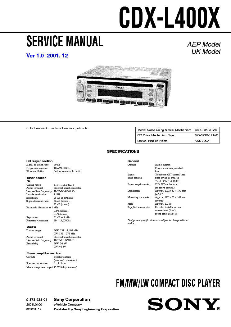 Sony Xm C6000 Sm Service Manual Download Schematics border=