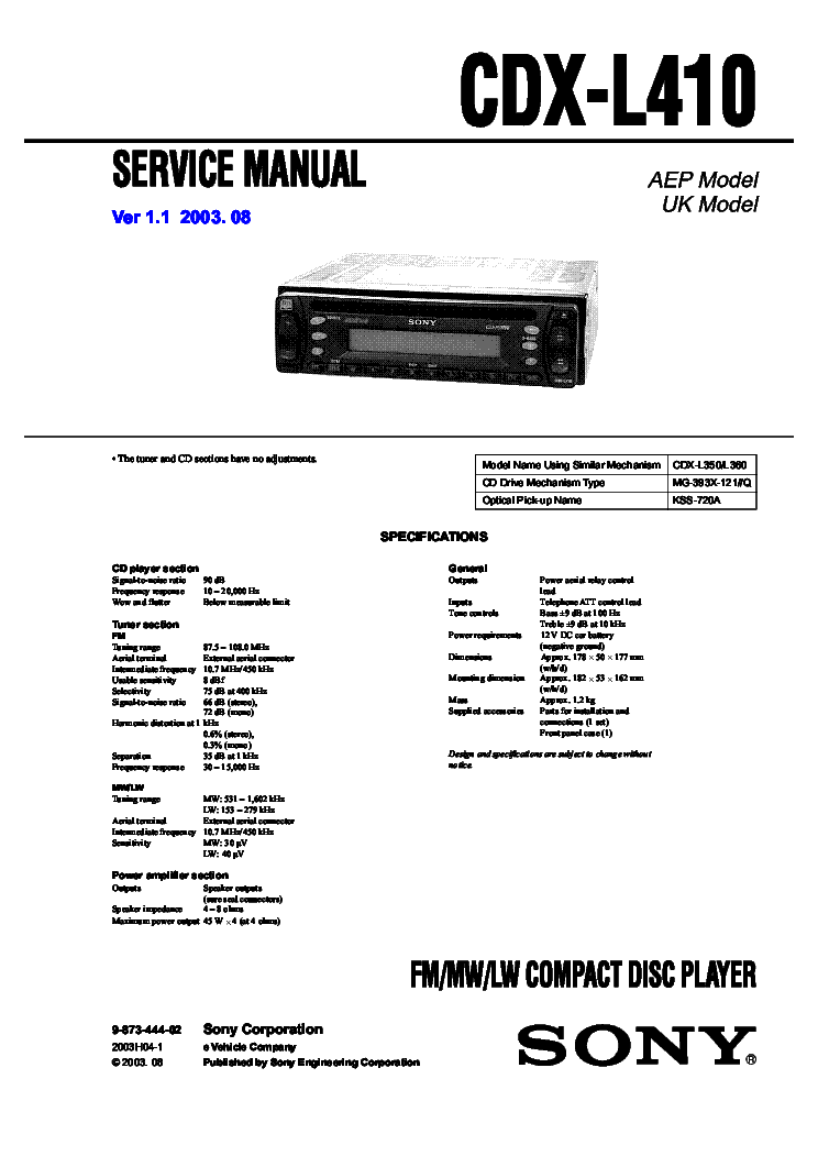 sony_cdx l410.pdf_1 sony cdx l410 service manual download, schematics, eeprom, repair sony cdx l410x wiring diagram at mifinder.co