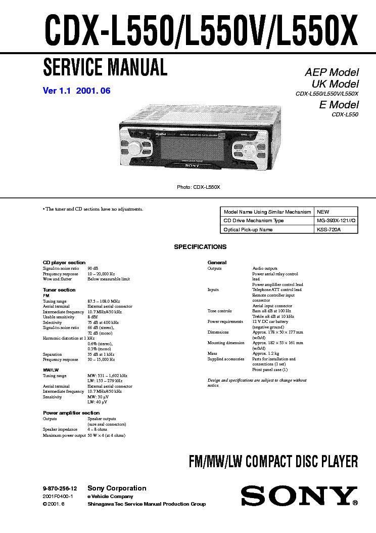 SONY CDX-L550 L550V L550X