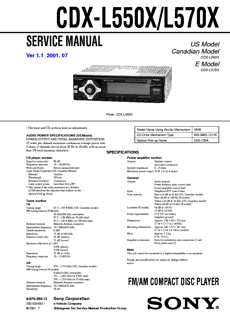 sony cdx l550x l570x service manual schematics eeprom repair info for electronics