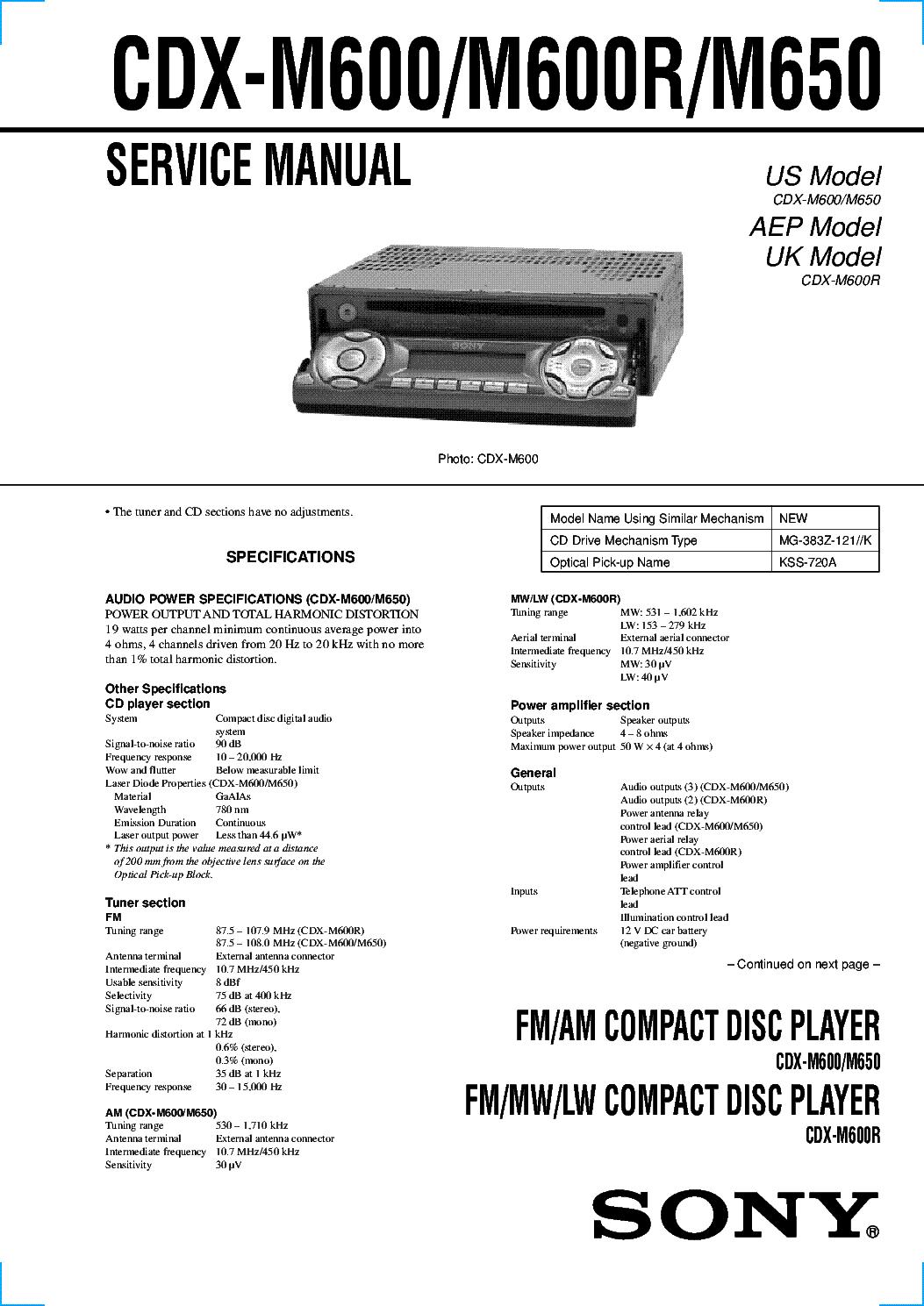 SONY CDX-M600 CDX-M600R CDX-M650 service manual (1st page)