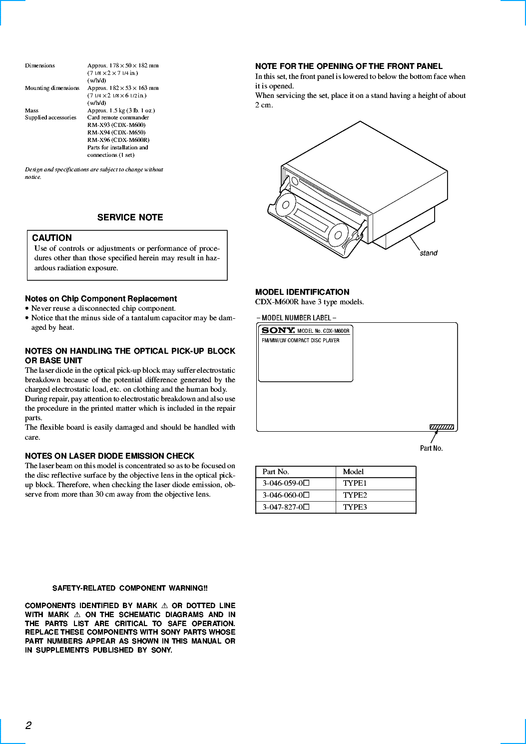 sony cdx-m600 cdx-m600r cdx-m650 service manual (2nd page)
