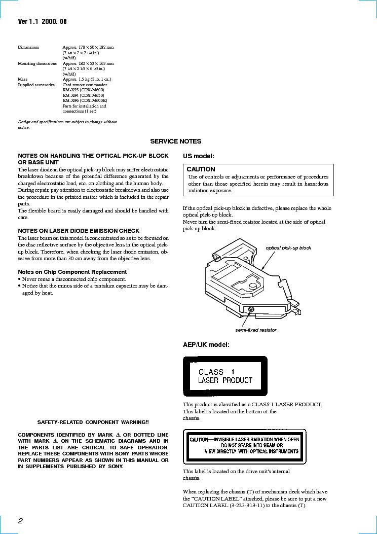 sony cdx m600 m600r m650 ver 1 1 sm service manual download  sony cdx m600 wiring diagram wiring