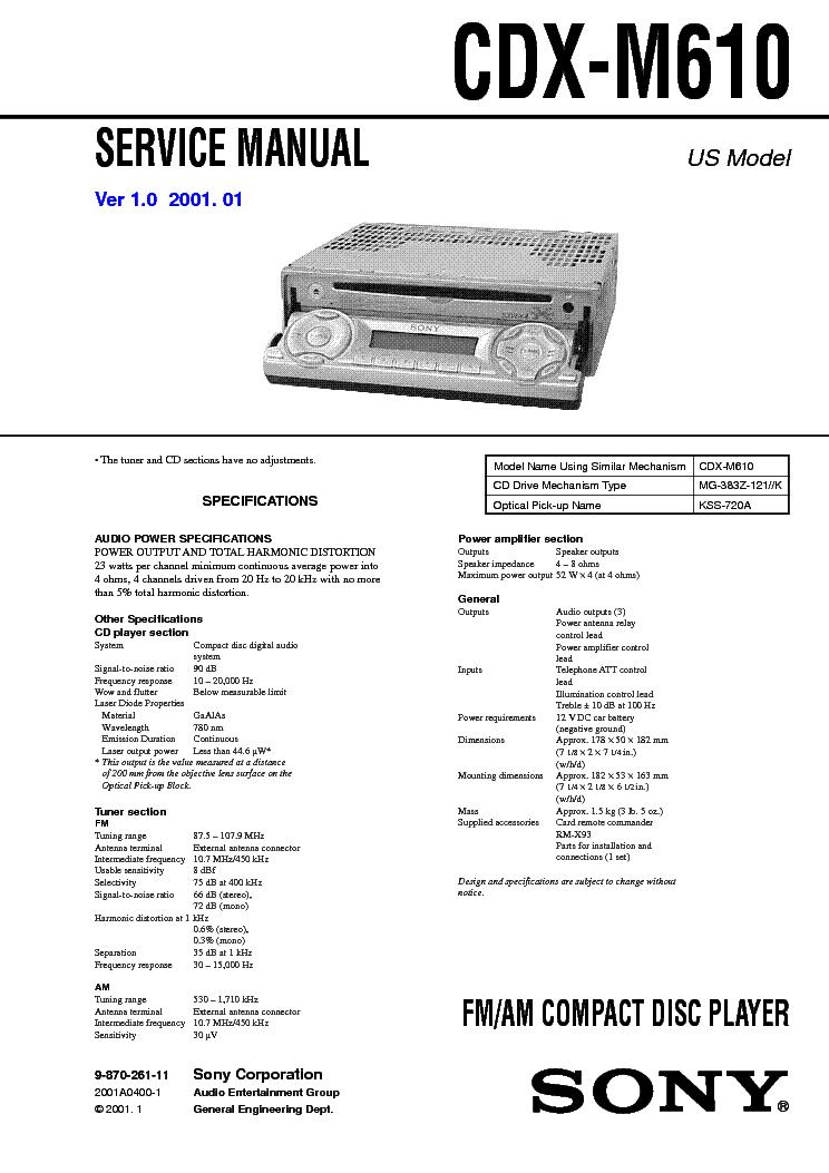 инструкцию для sony cdx-16