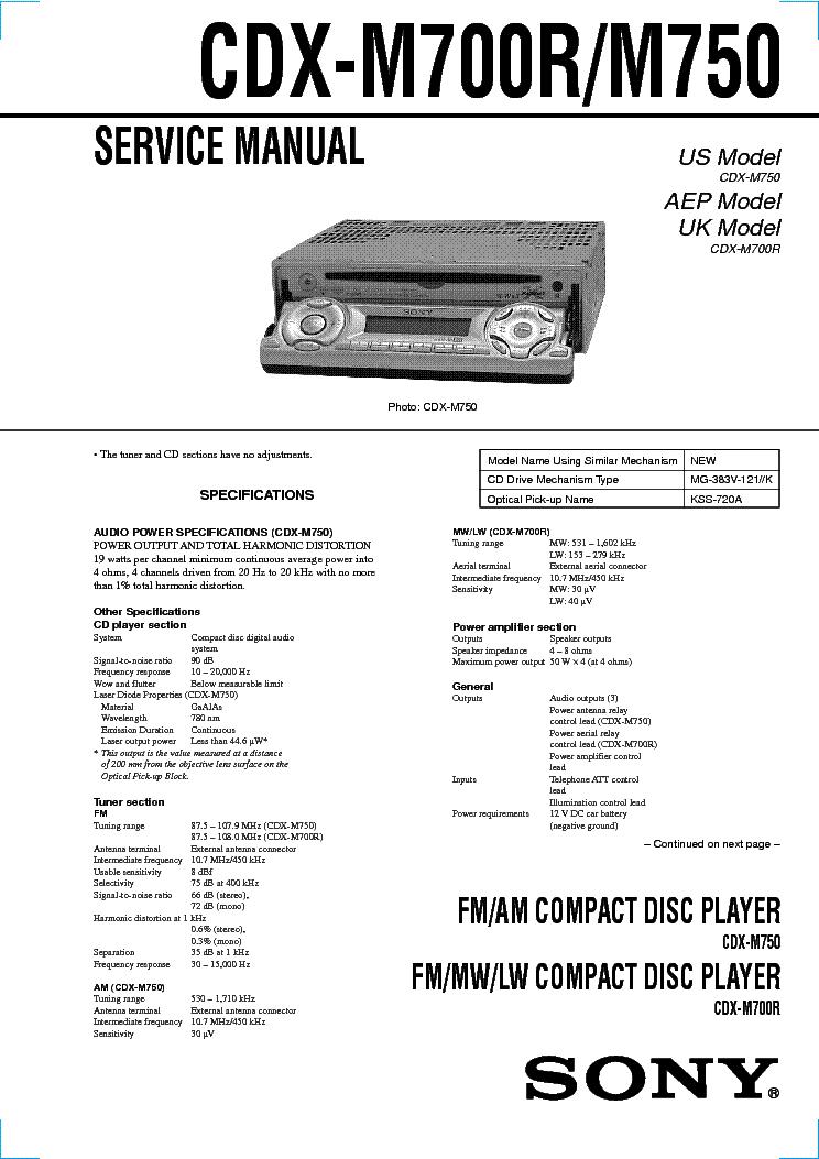 sony cdx m700r m750 sm service manual download schematics eeprom rh elektrotanya com Sony Explode Car Stereo Wiring Sony Xplod Wiring-Diagram