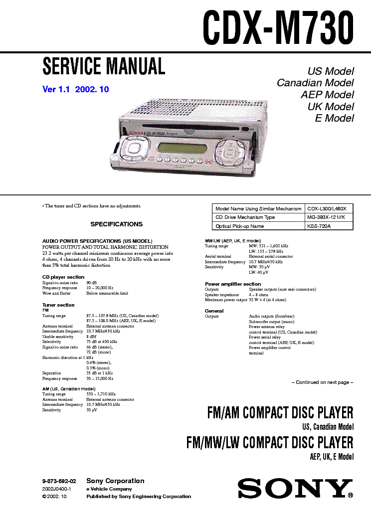 sony cdx-m730 service manual (1st page)