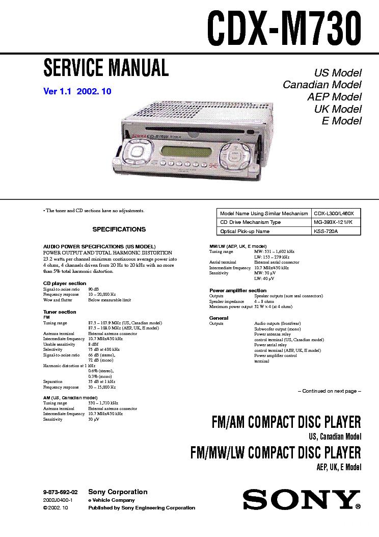 sony cdx 4160 sm service manual schematics eeprom sony