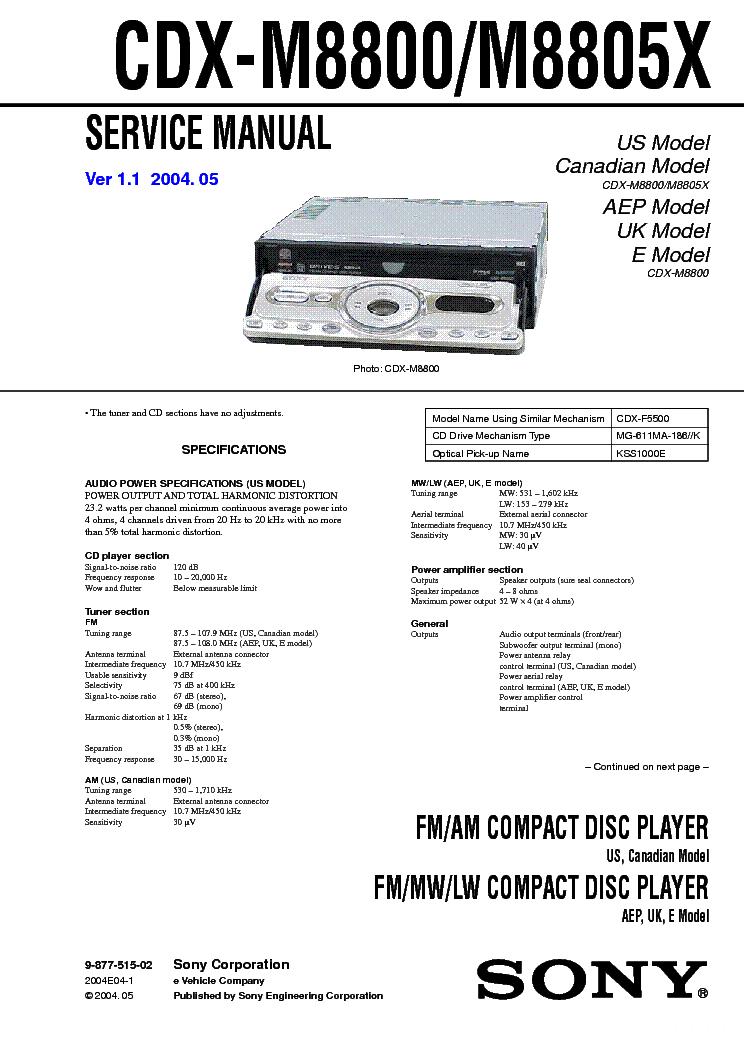 sony cdx m8800 cdx m8805x ver1 1 sm service manual sony cdx m8800 cdx m8805x ver1 1 sm service manual 1st page