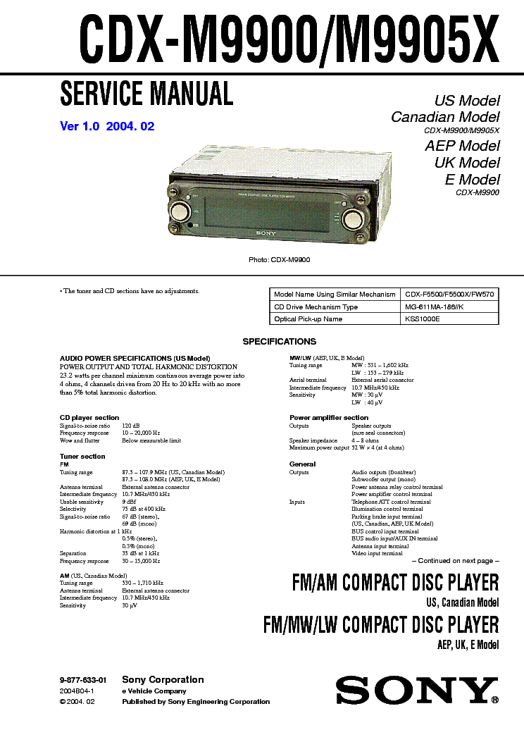 Инструкция sony cdx m9900
