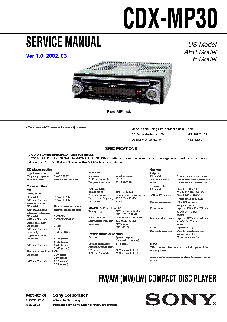 sony cdx mp30 service manual download, schematics, eeprom, repair Sony Xplod Radio Wiring Diagram 630Ui sony cdx mp30 service manual (1st page)