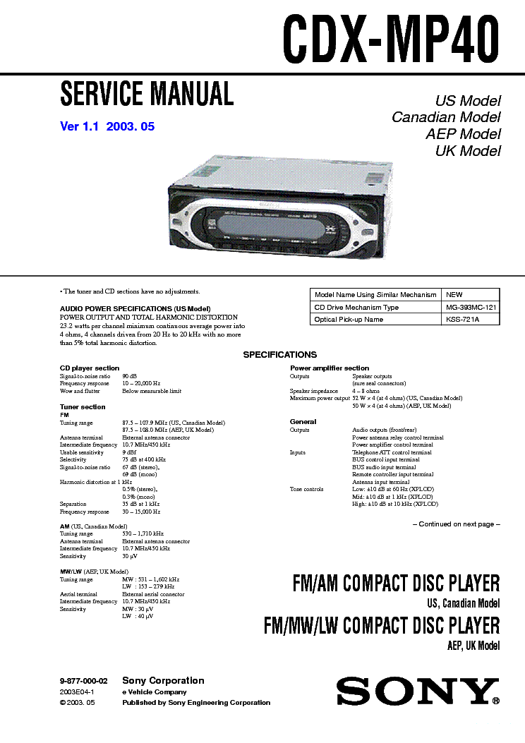 sony cdx r service manual schematics eeprom cdx mp40 ver 1 0 sm sony