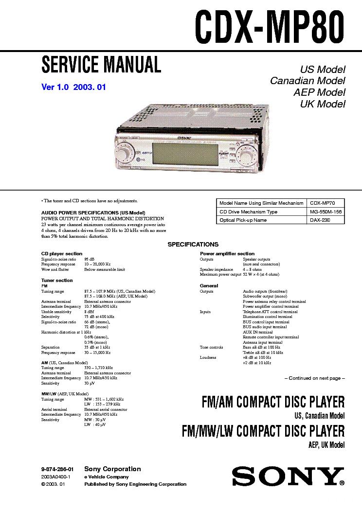 SONY CDX-MP80 VER-1.0 SM