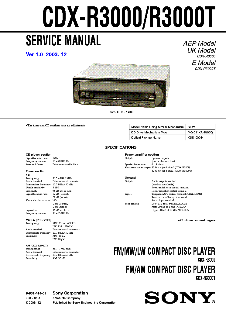 SONY CDX-R3000-R3000T
