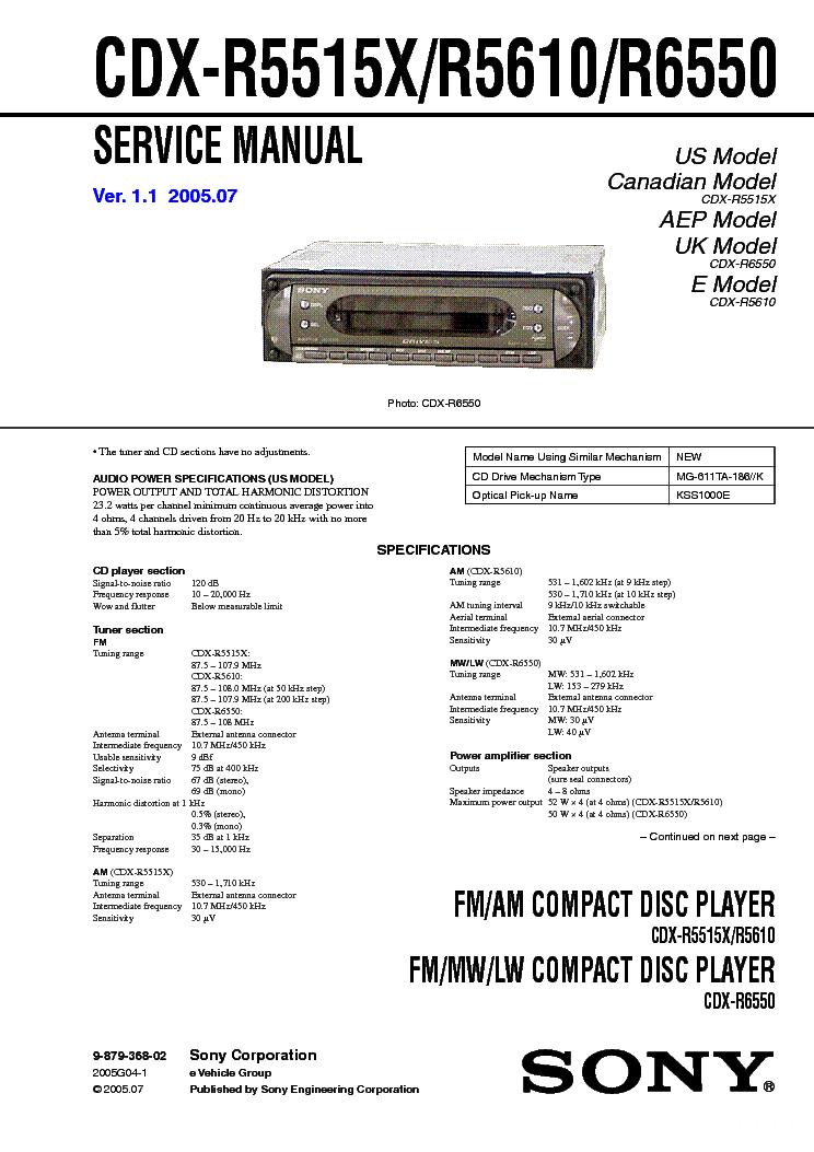 sony cdx r5515 r5610 r6550 service manual sony cdx r5515 r5610 r6550 service manual 1st page