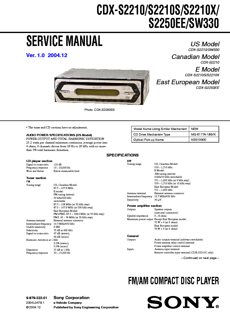 sony cdx s2210 s x s2250ee sw330 ver 1 0 sm service manual schematics eeprom repair