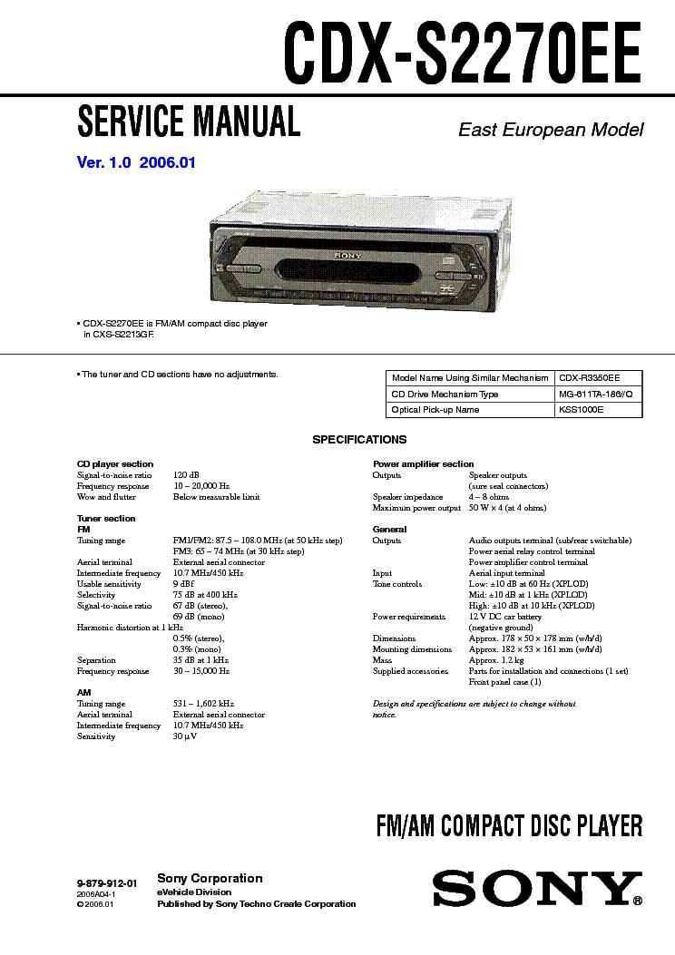 Инструкция По Эксплуатации Автомагнитолы Soni Cdx-S2250ee