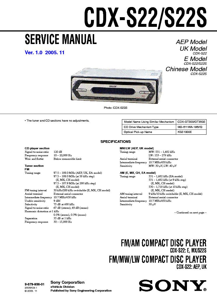 Инструкция Sony Cdx Gt240