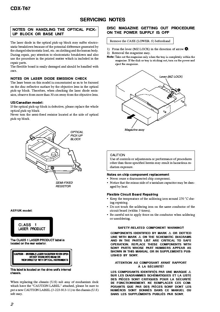 manuals sony cdx t67 repair service manual pdf full