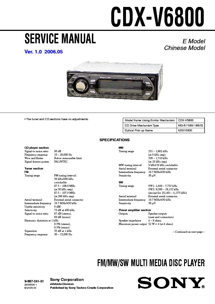 Sony Cdx R30m R3310 R3410 R3410s