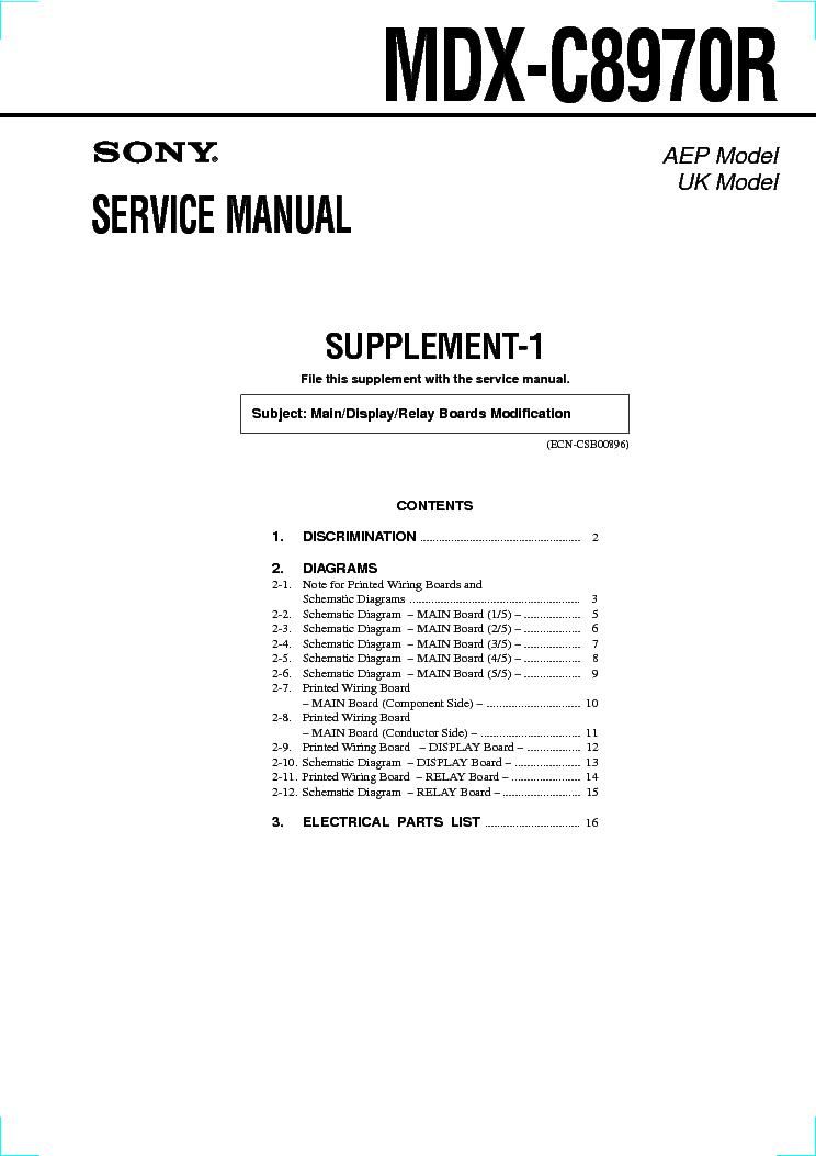 Суплемент SONY MDX-C8970R