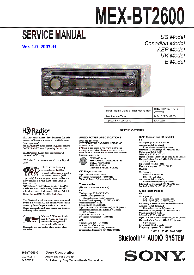 sony_mex bt2600_ver 1.0_sm.pdf_1 sony mex bt2600 ver 1 0 sm service manual download, schematics sony mex-bt2600 wiring harness at bayanpartner.co