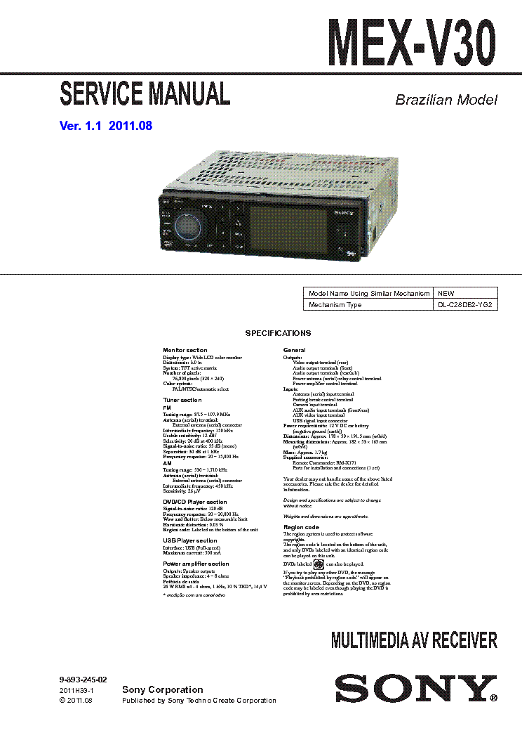 sony mex v30 ver1 1 service manual download schematics eeprom rh elektrotanya com sony dxc d30 manual sony evi-d30 camera manual