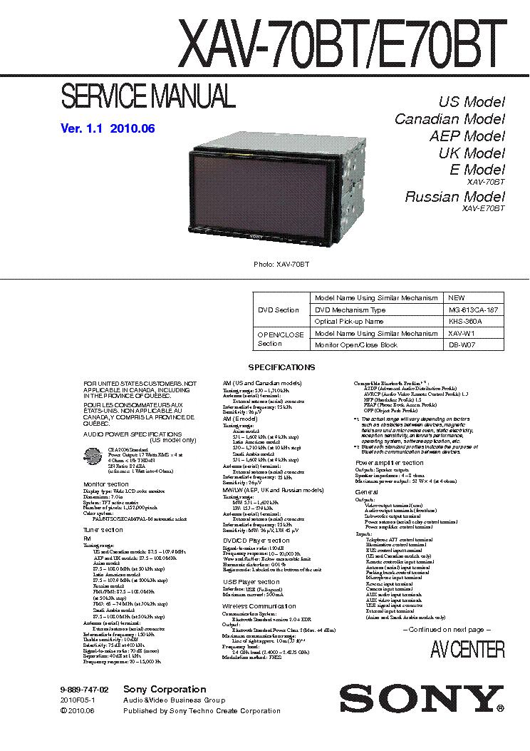 sony_xav 70bt_e70bt_sm.pdf_1 sony xav 70bt e70bt sm service manual download, schematics, eeprom sony xav-70bt wiring diagram at gsmportal.co
