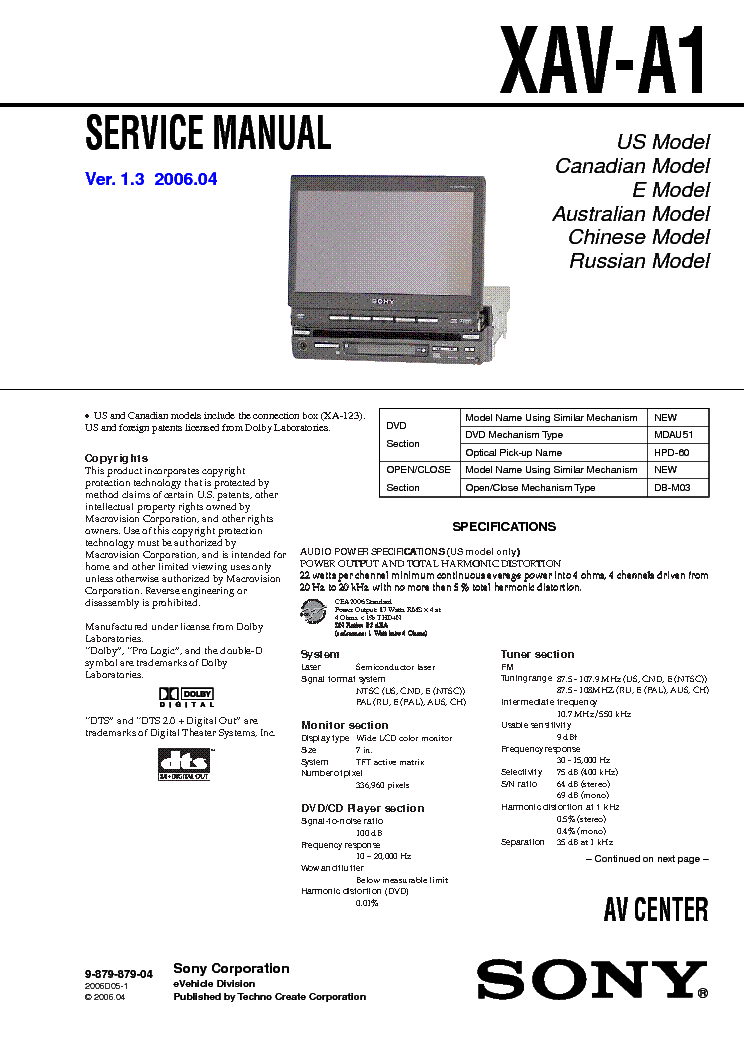 sony_xav a1.pdf_1 sony xav a1 service manual download, schematics, eeprom, repair sony xav-a1 wiring diagram at readyjetset.co