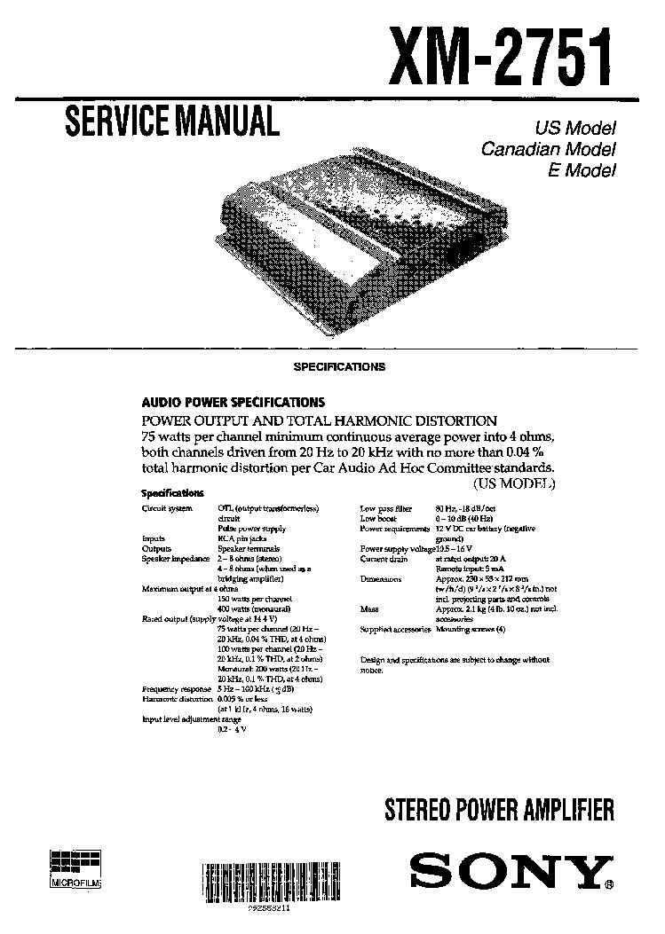 SONY XM-2751 SM service manual (1st page)