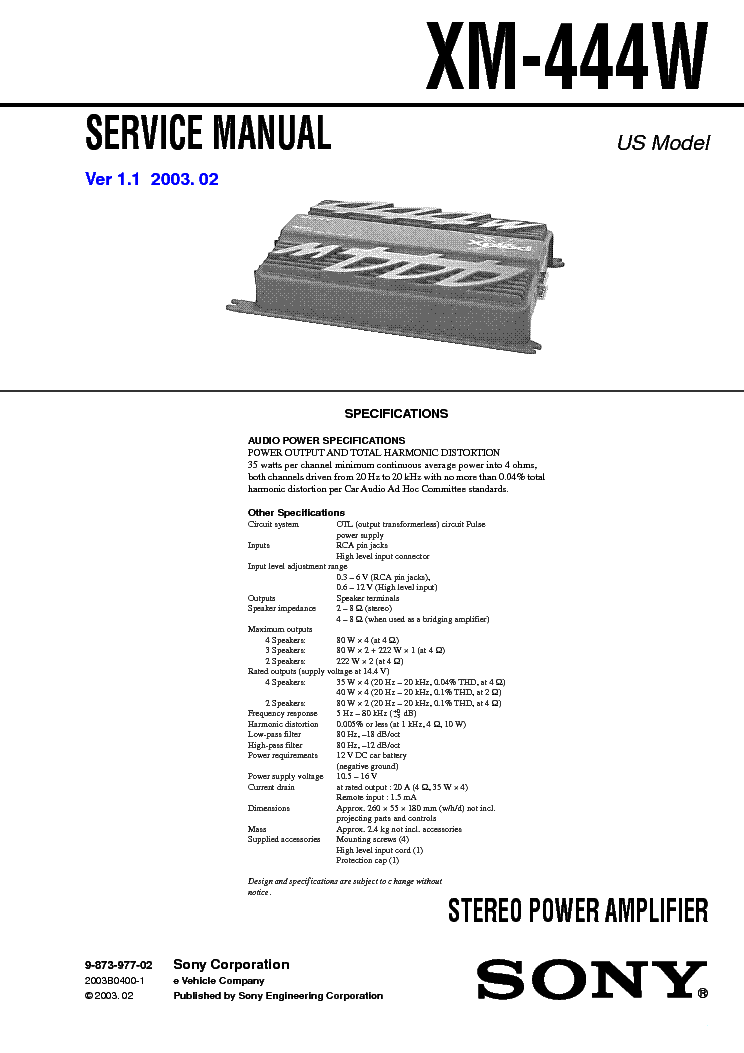 Sony xm-n502 2-channel car amplifier — 65 watts rms x 2 at.