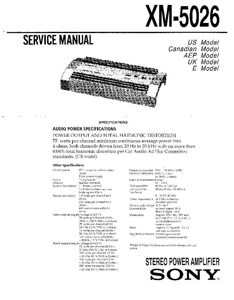 sony xm 5026 sm service manual schematics eeprom sony xm 5026 sm service manual schematics eeprom repair info for electronics