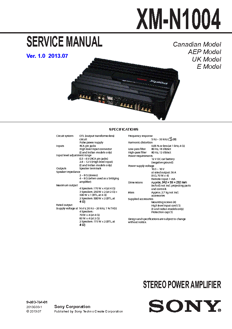 Sony xm-zr604 (xmzr604) 600w max, 4-channel xplod series car.