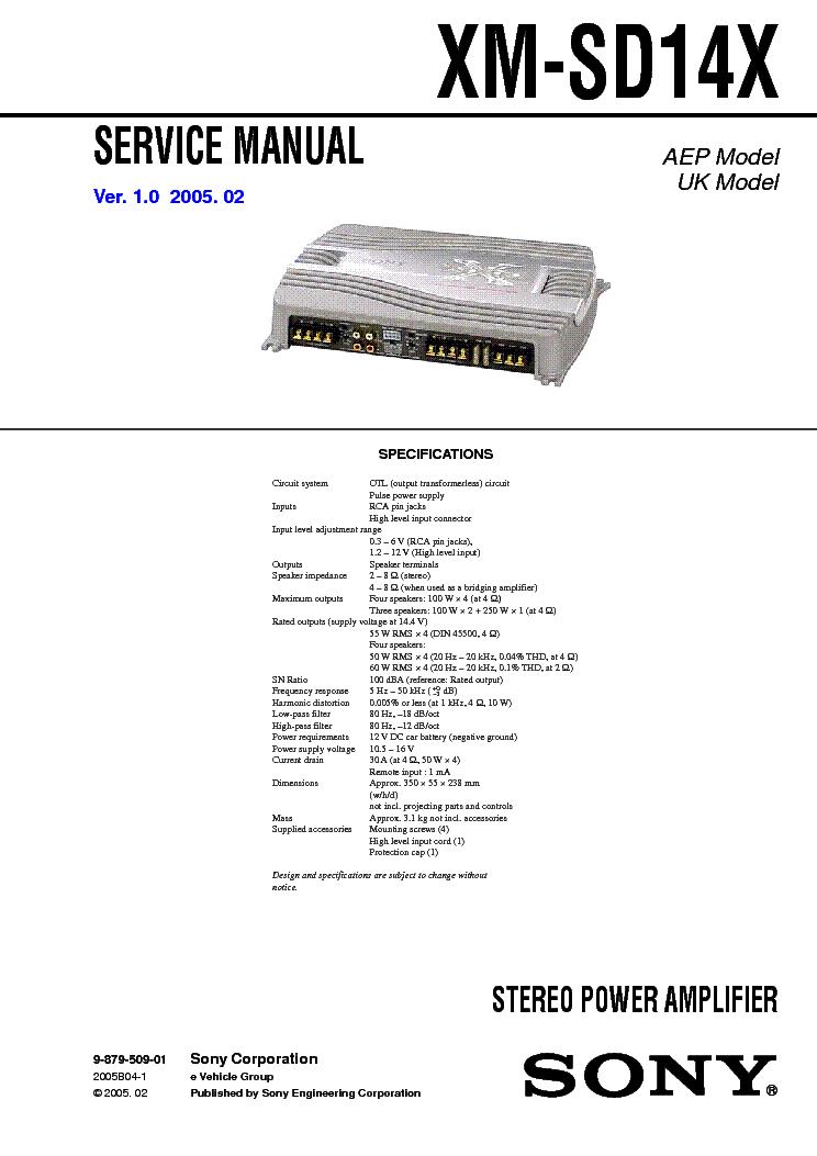 SONY XM-SD14X service manual
