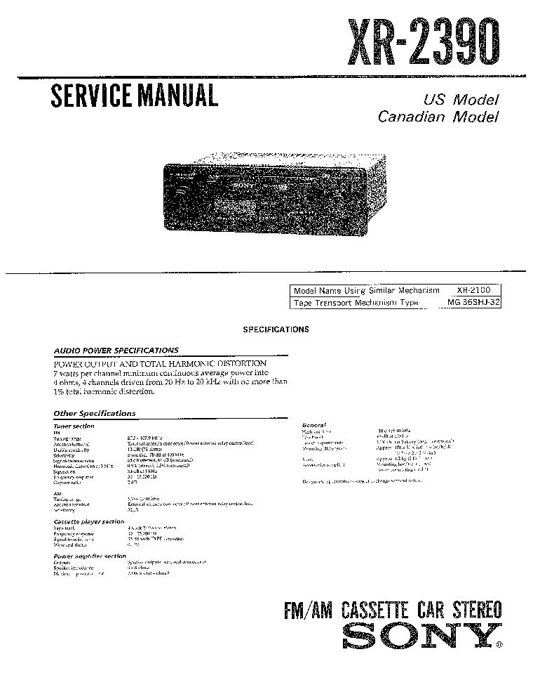 SONY XR-2390 SM service manual