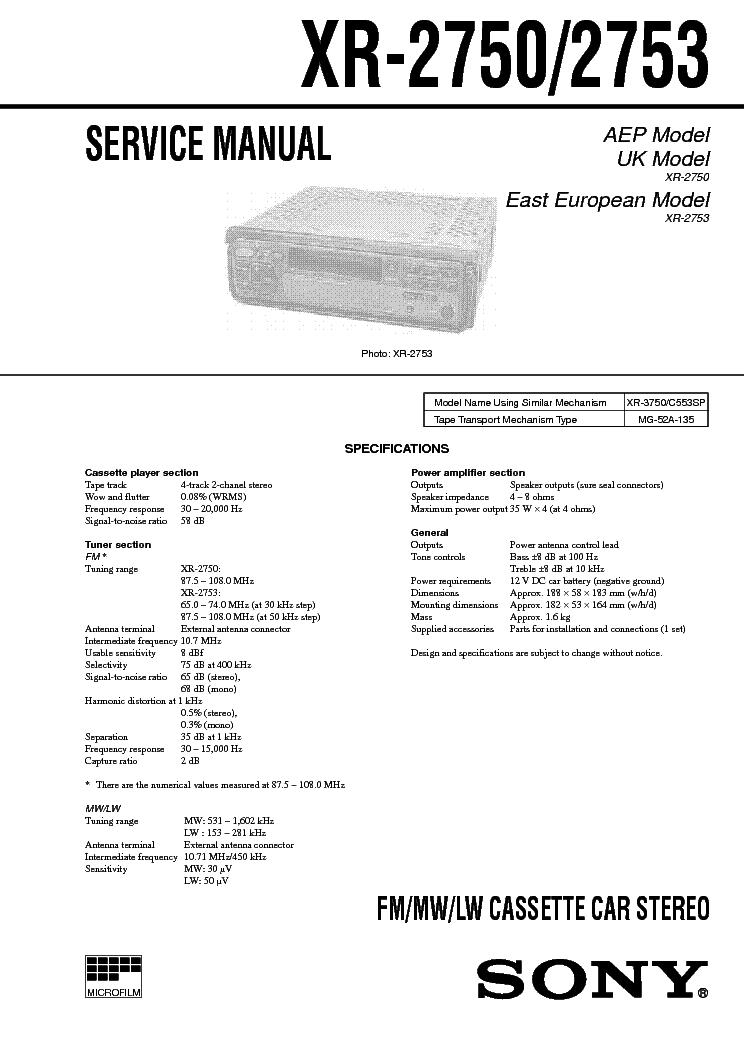 SONY XR-2750 2753 SM