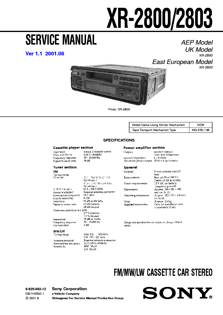SONY XR-2800 XR2803 VER1.1 SM