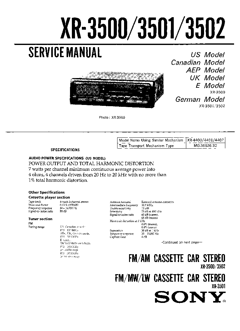 SONY XR-2100 Service Manual download, schematics, eeprom, repair ...