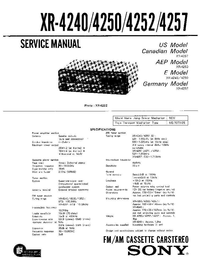 SONY XR-4240 4250 4252 4257 service manual (1st page)
