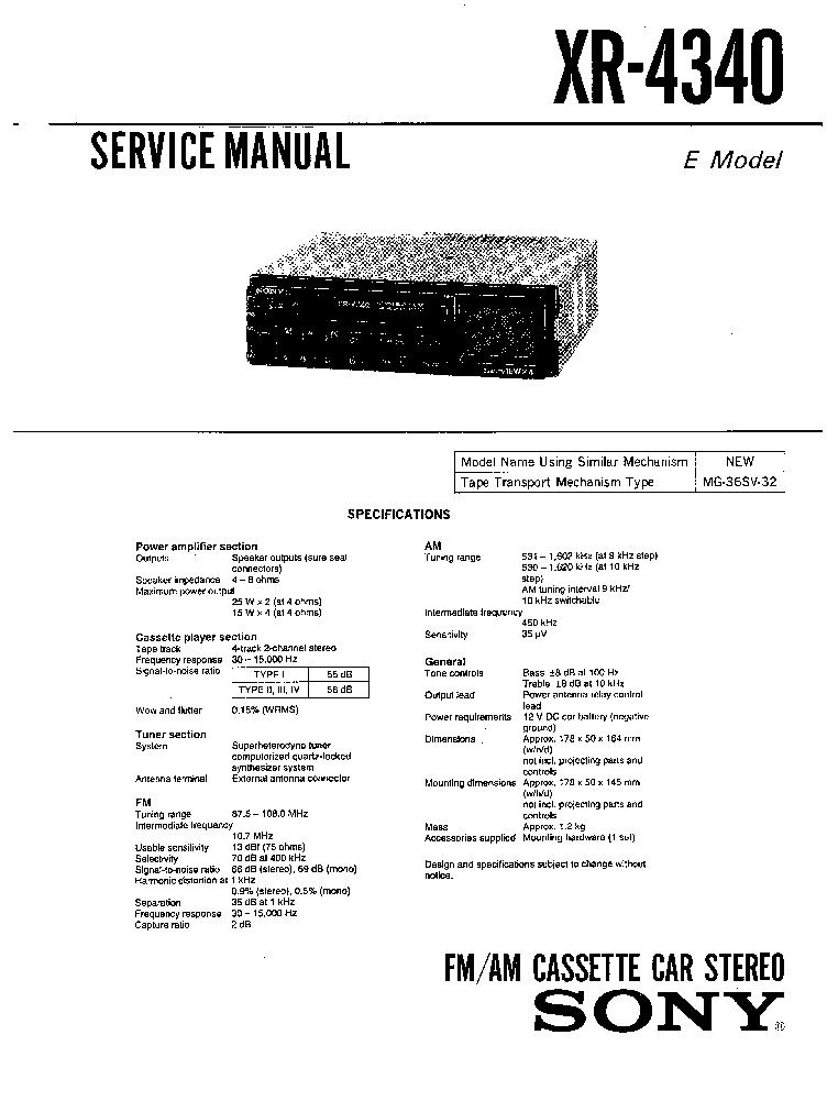 SONY XR-4340 service manual