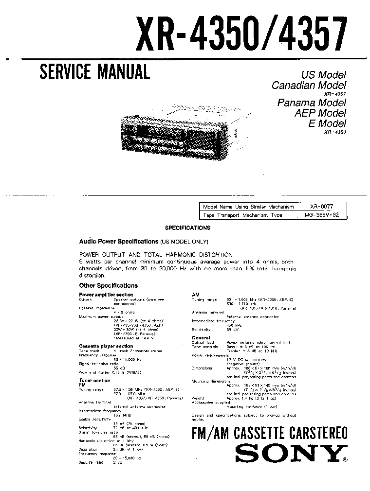 SONY XR-4350 4357 SM service